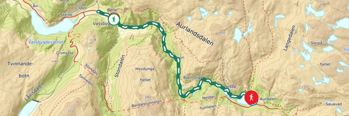 kart historisk vandrerute aurlandsdalen