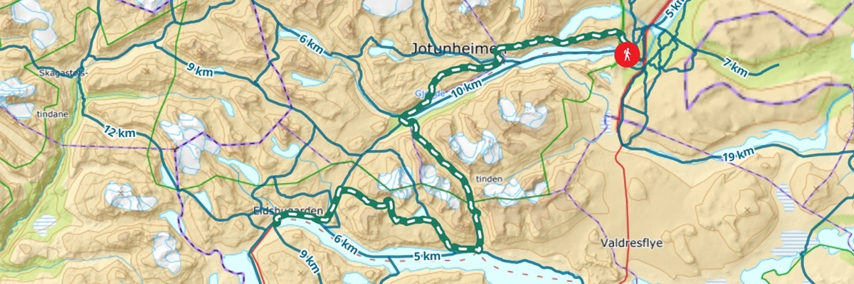 kart historisk vandrerute Jotunheimen
