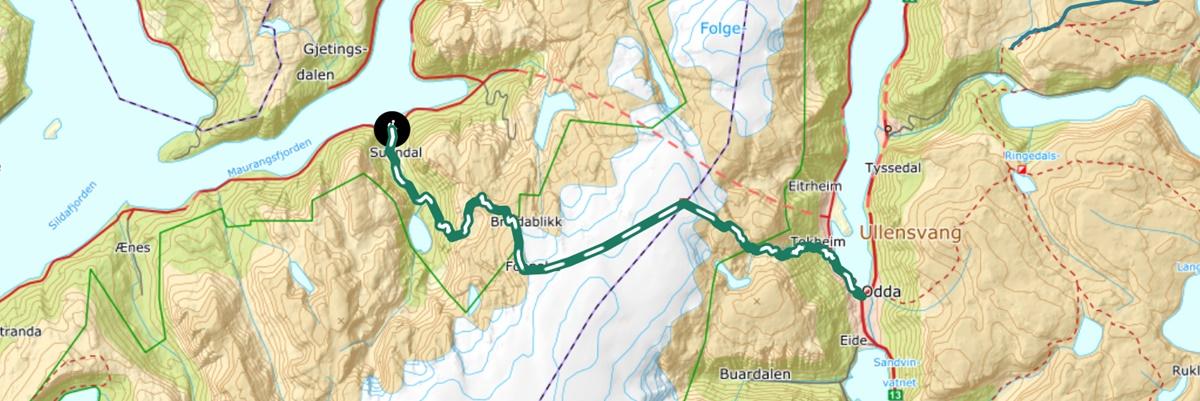 Kart historisk vandrerute turistvegen over folgefonna
