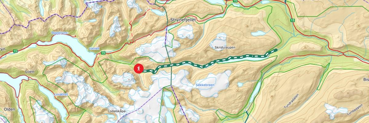 kart historisk vandrerute ferdselsvegen over kamperhamrane