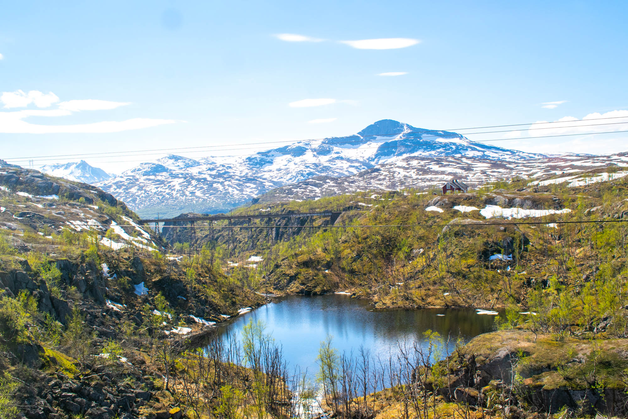 Norddalsbrua sett fra Arctic Train langs Ofotbanen